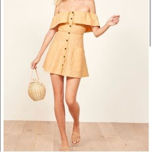 Reformation Linen Landy Off The Shoulder Dress
